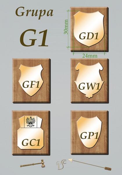 Grupa G1 grawerowane na blasze mosiężnej 1mm