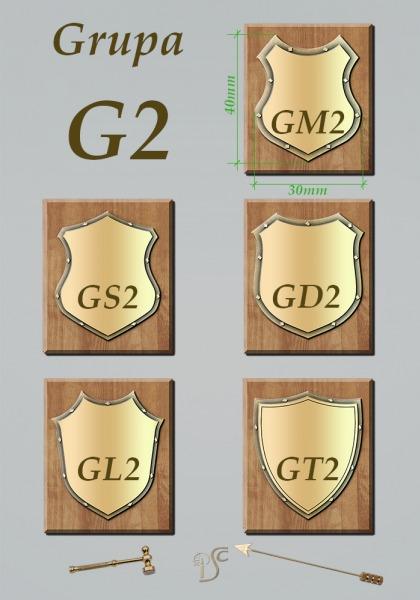 Grupa G2 , grawerowane na blasze mosiężnej z obniżonym tłem ozdobnym
