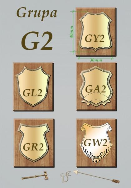 Grupa G2 grawerowane na blasze mosiężnej 1,5mm z obniżonym tłem ozdobnym