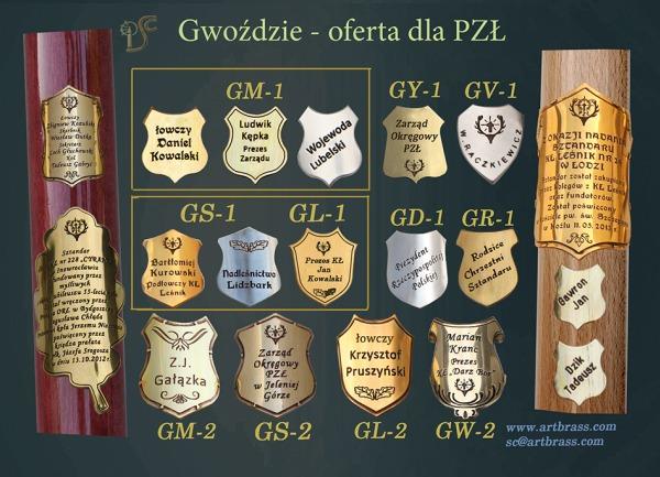 Gwoździe pamiątkowe dla kół łowieckich wymiary: G1 - od 25-34mm G2 - od 35-42mm