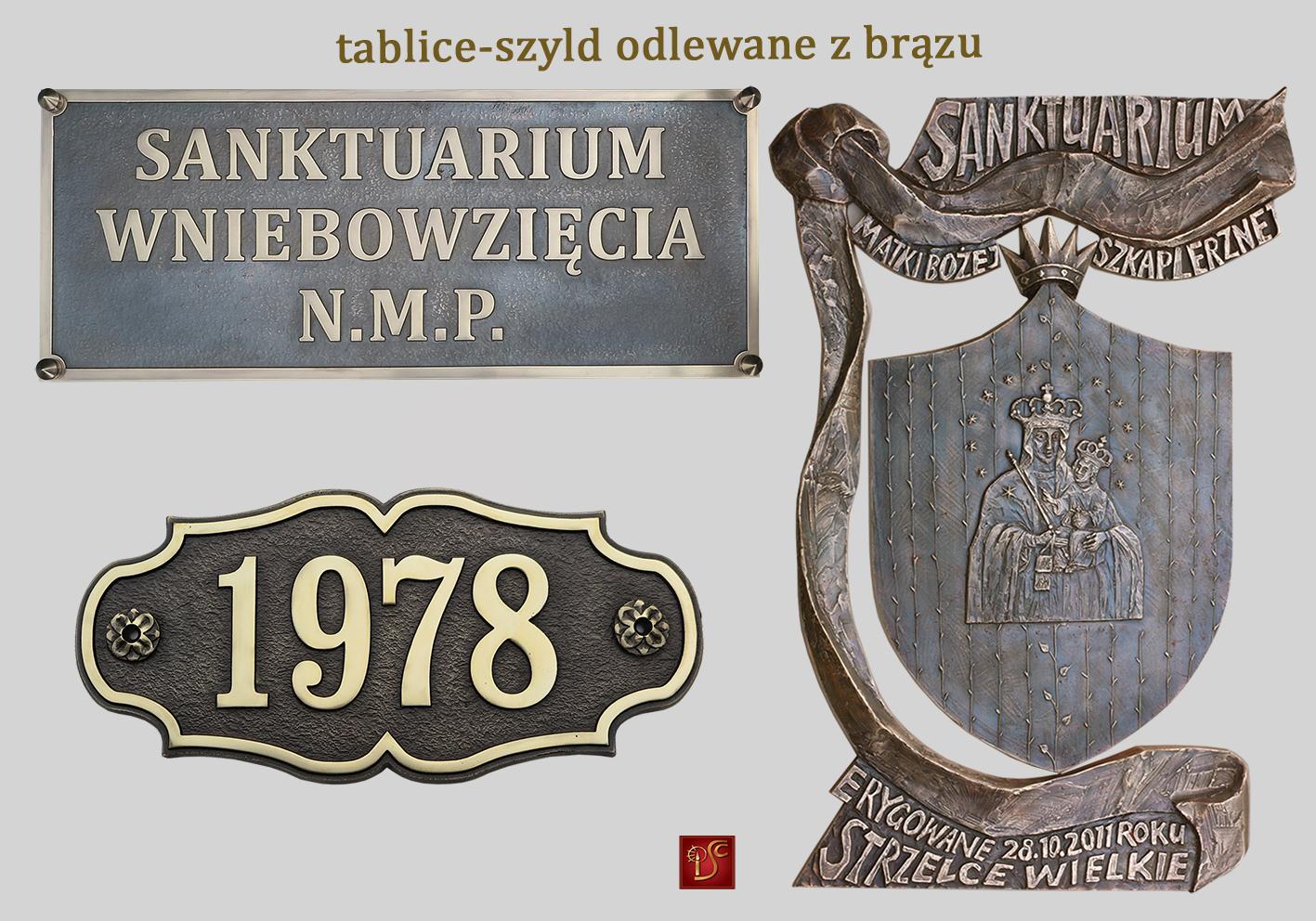 tablice szyldy odlewane z brązu