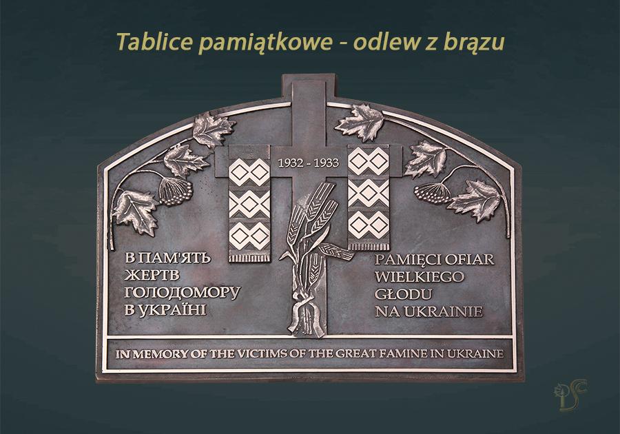 Tablica upamiętniająca ofiary wielkiego głodu na Ukrainie w latach 1932-1933